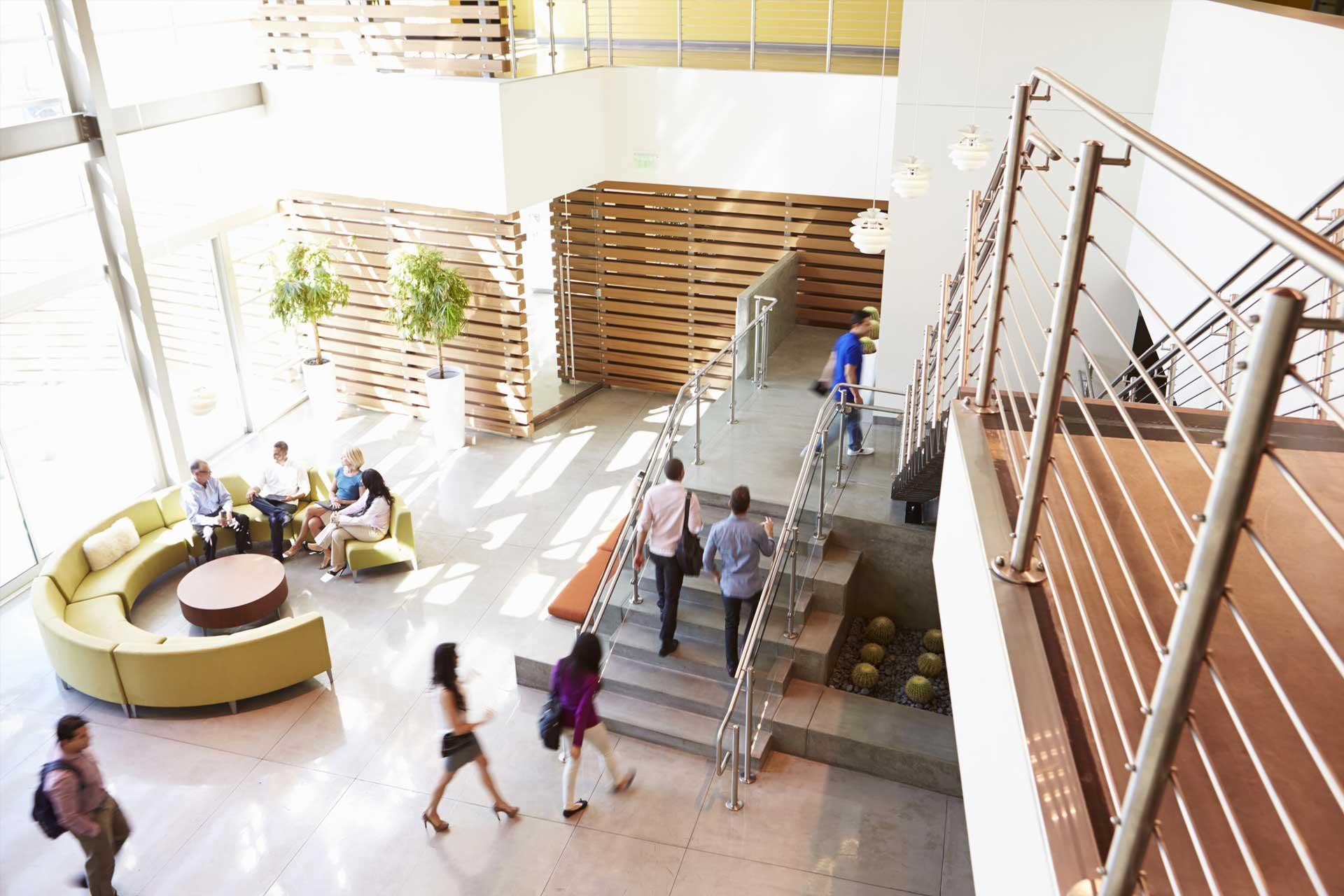 modern clean office building lobby