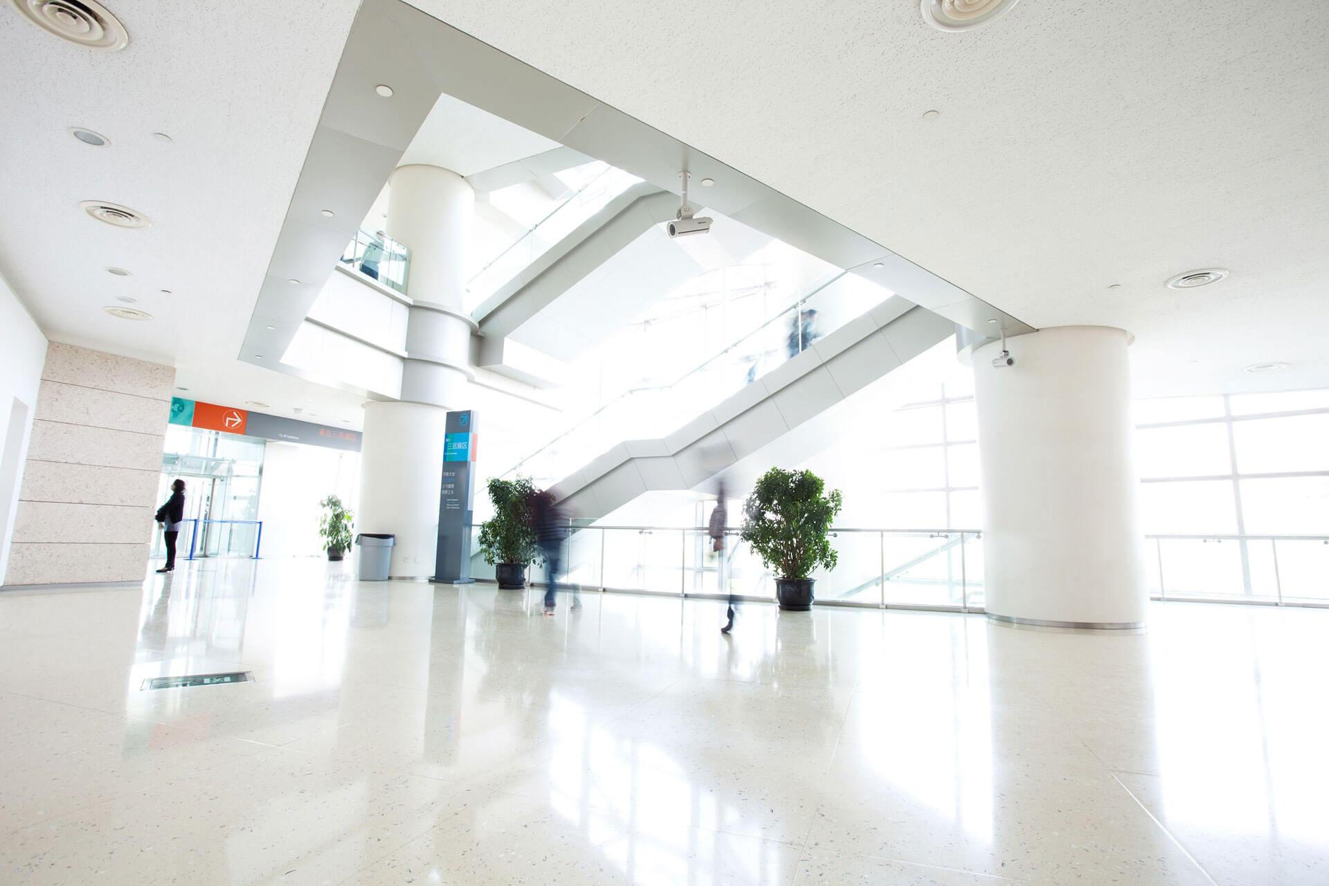 clean office building lobby